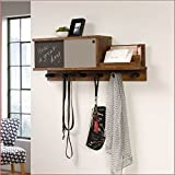 Wall Mounted Coat Rack with Chalkboard and Sliding Door in Walnut