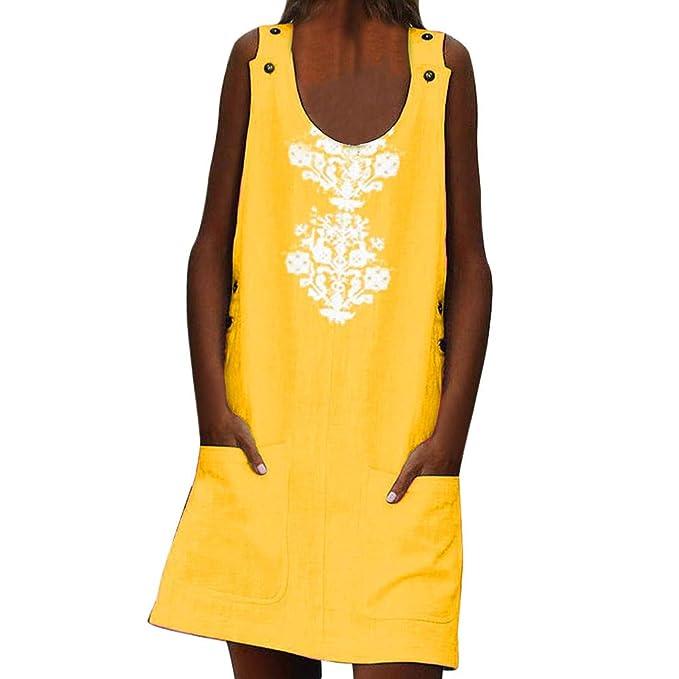 IZZB Mode Damen Sommer Partykleid Ärmellose Knöpfe mit O-Ausschnitt Taschen Leinenmuster Lässig Mini Freizeitkleid Abendkleid