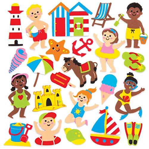 Baker Ross Seaside Foam Stickers (Pack of 120) Beach Themed Puffy Scrapbook Stickers in Fun Foam Shapes