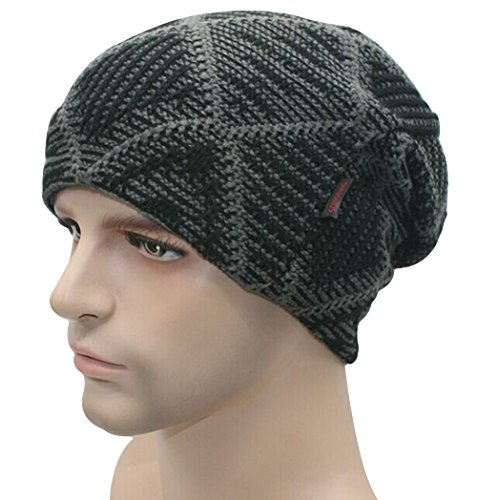 [FHSom Men's Woolen Knit Black Lattice Stylish Warm Soft Slouchy Beanies Skull Snow Cap Hat] (Pork Pie Hat For Sale)