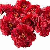 Artificial Peony Flower Head Hair Clips Corsage Headwear for DIY Home Wedding Prom Decoration Gift Pack of 20 (Burgundy)