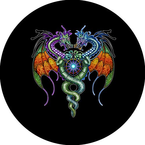 TIRE COVER CENTRAL Guardian Dragon Caduceus Symbol of Medicine Spare Tire Cover for 31X10.5X15 fits Camper, Jeep, RV, Scamp, Trailer(Drop Down Size menu