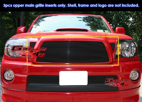 APS Fits 05-2010 Toyota Tacoma Black Main Upper Billet Grille Insert Insert #T85460H