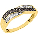 10K Yellow Gold Brown & White Diamond Wave Anniversary Ring Wedding Band 0.25 Cttw