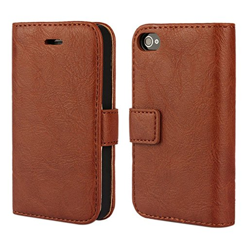 4s Wallet Case, Wallet Leather Heavy Duty Protection Soft TPU Back Kickstand Case for iPhone 4 / 4s - Brown ()