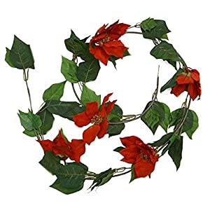 Factory Direct Craft Velvet Red Poinsettia Garland | for Indoor Decor 31