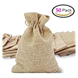 50Pcs Burlap Bags Jewelry Pouches with Drawstring, Resusable Gift Bag Jute Hessian Linen Goodie Bag Packing Storage for Wedding Party Bridal Shower Birthday Christmas Favor, 5 x 4 Inch
