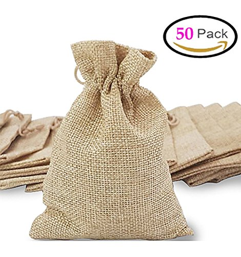 Mini Jute (50Pcs Burlap Bags, Mini Gift Bag Jewelry Pouches Packing Storage candy Bags Favor Jute Sacks for Wedding Party Birthday Shower Jewelery DIY Craft with Drawstring, 5.0 x 4.0 inch)
