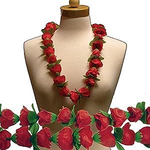 "Red Rose Silk Flower 36"" Lei 7"