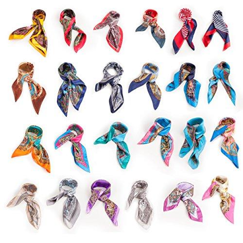 Ladies Cruise Silky Shawl Womens Scarf Neck Tie Paisley Stripes Jewel Print