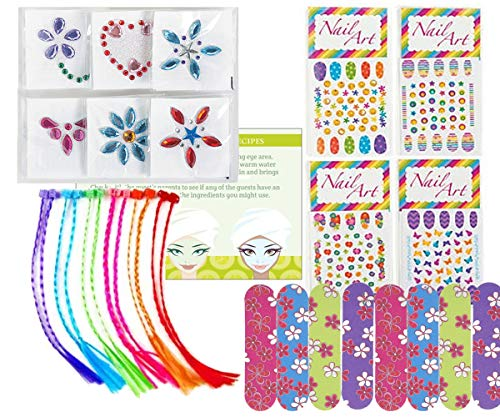 Spa Party Supplies for Girls - MINI Emery Boards (12), Colored Hair Clip Braids (12), Body Jewels (12), Nail Decal Sets (12), Pink Cello Bags (12) and Facial Recipes, Total 61 Pieces (Bag Favor Spa)
