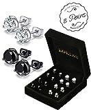 LOLIAS 8 Pairs Cubic Zirconia Stud Earrings for Men Women Earring Set 6-9 MM