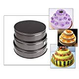 docooler Set of Three Springform Pans Cake Bake Mould Mold Bakeware with Removable Bottom Round Shape Versatile Sturdy