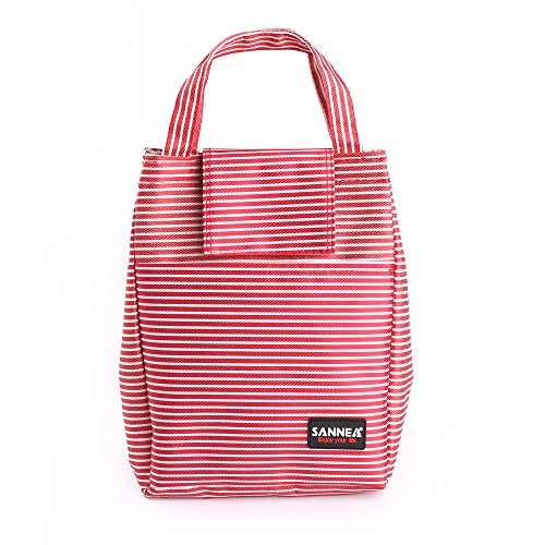 Insulated Lunch Bag - Reusable Thermal Portable Cooler Container Bag - Striped Cooler Lunch Handbag for Women Men Girl Boy (Red-White, 10.2