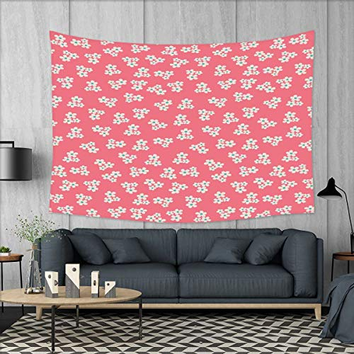 """smallbeefly Country Home Customed Widened Tapestry Cute Little Daisies Bouquets Girls Bedroom Desgin Freshness Pink Backdrop Wall Hanging Tapestry 90""""x60"""" Teal Pink White"""