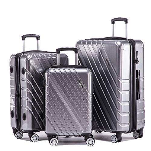 77f601746 Expandable Luggage Sets Hardshell Spinner. Lightweight Spinner four Wheel  ABS/PC Hard Shell Luggage Suitcase Travel Trolley Case(3 Piece ...