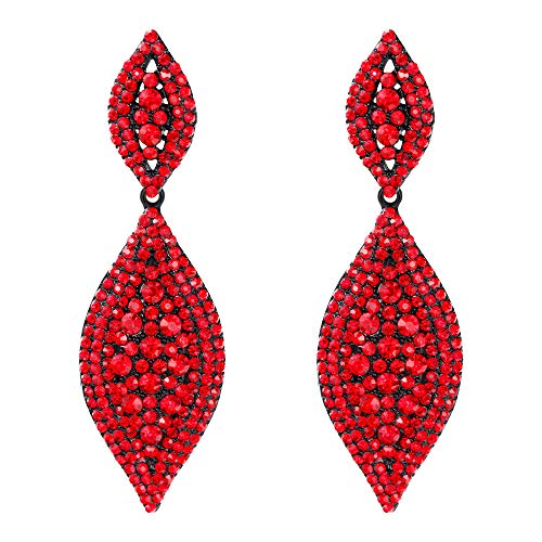 Flyonce Women's Stunning Austrian Crystal Wedding Bridal Dangle Drop Earrings Gold-Tone Red