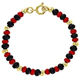 In Season Jewelry 18k Gold Plated Evil Eye Protection Bracelet Red Black Beaded Children 5''