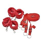 W&B Lion Inc Neoprene Bed Spreader 8pcs Bondage Kit Bondage Bed Spreader Cuffs (Red)