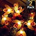 KANYEE 2 Pack Solar Honeybee Decorative LED String Lights Patio Fence Decor Waterproof