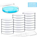 20 Pack Sterile Plastic Petri Dishes with Lid, 90mm Dia x 15mm Deep with 20 Plastic Transfer Pipettes