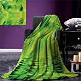 smallbeefly Leaves Digital Printing Blanket Leaves in Water Spa Open Your Chakra Nature Meditation Ecological Monochrome Photo Summer Quilt Comforter 80''x60'' Green