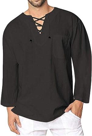 ChengZhong - Camisa Pirata Medieval para Hombre, diseño de Renacimiento Vikingo, con Cordones: Amazon.es: Ropa y accesorios