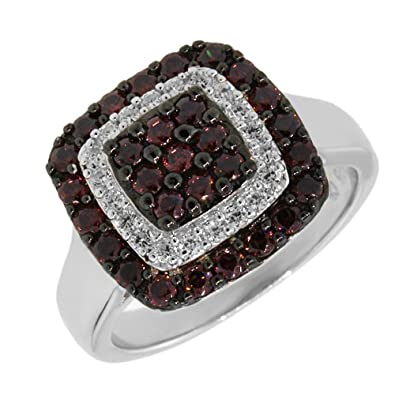 Gem Stone King 1.00 Ct Stunning Round Black Spinel and White CZ 925 Sterling Silver Ring