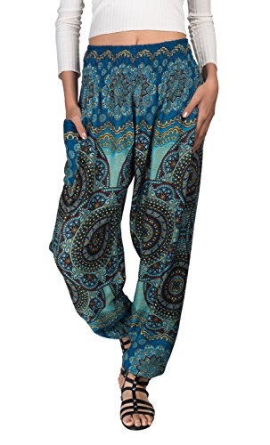JOOP JOOP Bohemian Tapered Elephant Harem Loose Yoga Travel Lounge Pants (L/XL, Light Blue)