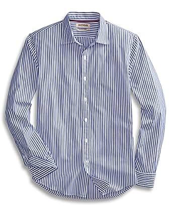 Goodthreads Men's Slim-Fit Long-Sleeve Banker Striped Shirt, Blue, Small
