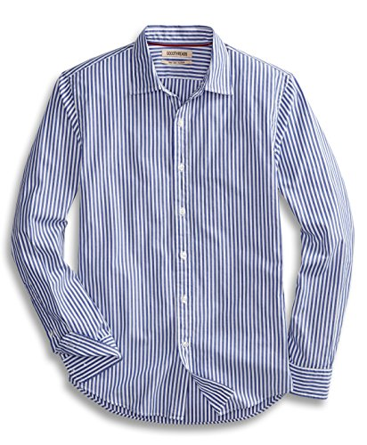 Goodthreads Men's Slim-Fit Long-Sleeve Banker Striped Shirt, Blue, X-Large (Down Shirt Button Mens Striped)