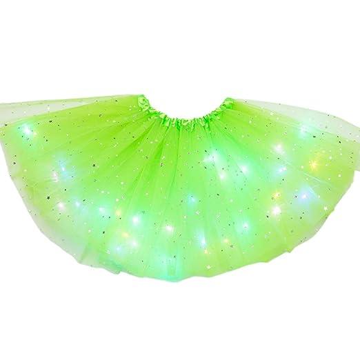 Vxhohdoxs - Falda tutú con lentejuelas y luz LED para mujer, color ...