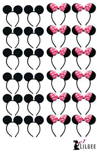 Set of 24 Mickey Mouse Ears & Pink Bow Minnie Mouse Ears Headband For Parties, Events, Trips, - Wholesale Ears Mickey Mouse