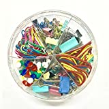 Stationery Office Supplies Set, Binder Clips, Paper Clips, Rubber Bands, Kit Pushpins, 4 in 1 Round Box in Assorted Colors
