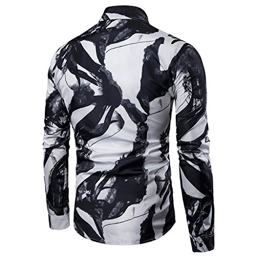 Pervobs Shirts for Men Spring Summer Casual Stand Collar Button-Down Long Sleeve Tee Shirt Tops Blouse(XL, Black) by Pervobs Men Shirts (Image #2)