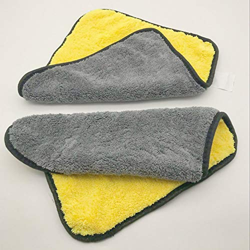 Car Wash Towel Thick Absorbent Cleaning Towel Double Color Car Wash Towel Yellow