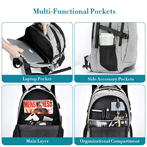 5fca0be450e9 Details about Travel Laptop Backpack, PICTEK Anti-Theft Business Water  (Grey - Updated)
