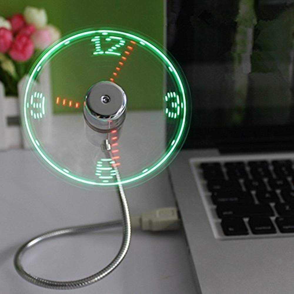 ONETWO® USB LED Clock Fan with Real Time Display Function, Silver LUSBSZ1