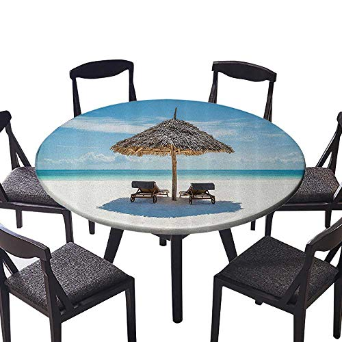 Round Premium Table Cloth Wooden Sun Loungers CING The Ocean Under Thatched Umbrella in Zanzibar for Most Home Decor 47.5