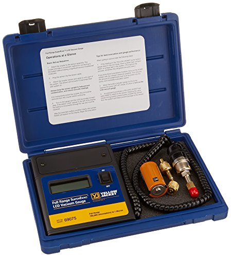 Analog Vacuum Gauge - Yellow Jacket 69075 SuperEvac LCD Vacuum Gauge Full Range Complete In Case