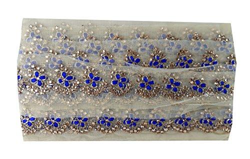 9 yard lace saree border trim Beige Net fabric Gold Blue Embroidery Stone (Blue Fabric Borders)