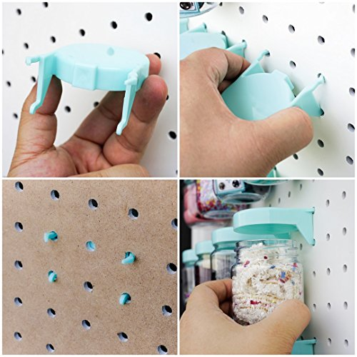 Pegboard Accessories Organizer Storage Jars - Crush & Impact Resistant Plastic Caddy Craft Jars - One-Handed Locking System - Garage Workbench, Crafting, Tools, Jewelry, Sewing - Set of 12 (Blue) by WORLD AXIOM (Image #5)