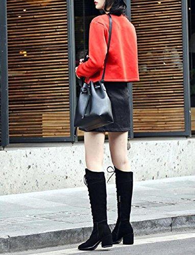 il le ginocchio cuoio di dei 34 di coscia lunghi retrò gray Cross punta stivali Scarpe dita della sopra piedi 38 alta donna cinturino 7nqxwPd