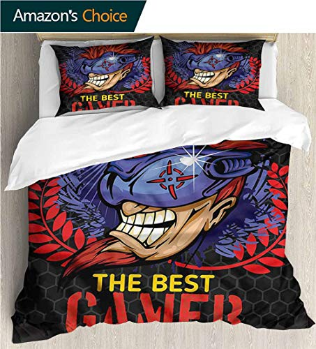 - VROSELV-HOME Kids Quilt 3 Piece Bedding Set,Box Stitched,Soft,Breathable,Hypoallergenic,Fade Resistant with Sham and Decorative 2 Pillows,Full Queen-Gamer Honeycomb Pattern Cyber Man (87