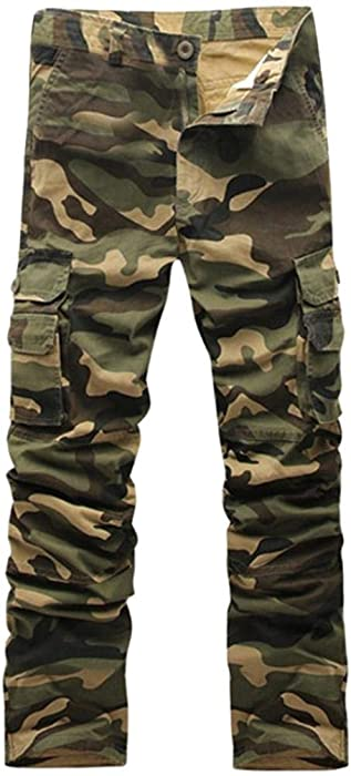 4c76e46305786a Mens Loose Fit Cotton Casual Military Army Cargo Camo Combat Work Pants