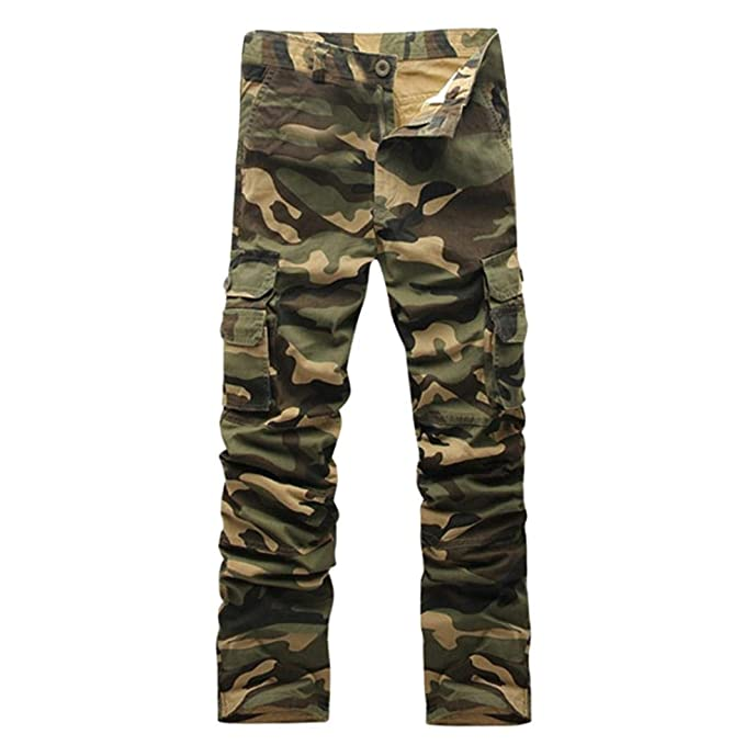 baf86e37a95966 Alixyz Mens Loose Fit Cotton Casual Military Army Cargo Camo Combat Work  Pants (32,