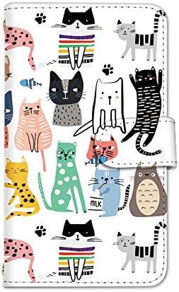 seventwo Galaxy Note8 SC-01K / SCV37 スマホケース 手帳型 カードホルダー ギャラクシー ノートエイト 【A.ホワイト】 猫 イラスト animal_035