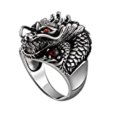 MetJakt Vintage 925 Sterling Silver Domineering Dragon Ring with Ruby Punk Rock Rings for Men's Fine Jewelry (8)