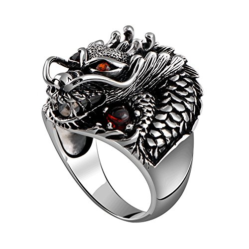 MetJakt Vintage 925 Sterling Silver Domineering Dragon Ring with Ruby Punk Rock Rings for Men's Fine Jewelry (8.5)