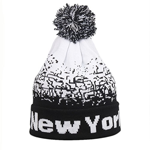 CHIDY Men Women Baggy Warm Winter Wool Knit Ski Beanie Skull Slouchy Caps Hat Letter Print Color Block Stitching Hat